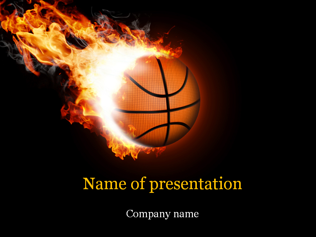 basketball ball powerpoint template & background for presentation, Modern powerpoint