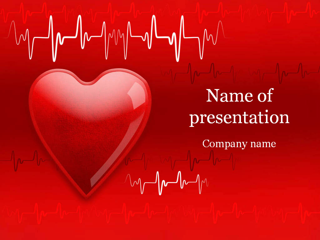 heart cardiogram powerpoint template & background for presentation, Modern powerpoint
