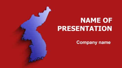 Red And Blue Korea Map PowerPoint theme